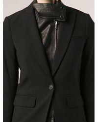 Veronica Beard - Black Leather Dickey Blazer - Lyst