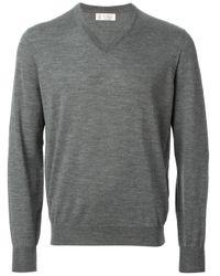 Brunello Cucinelli | Gray V-neck Sweater for Men | Lyst
