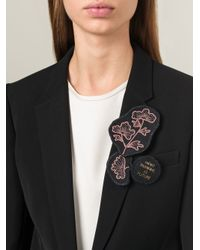 Ann Demeulemeester - Black Embroidered Brooch - Lyst
