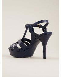 Saint Laurent | Blue Tribute Leather Sandals | Lyst