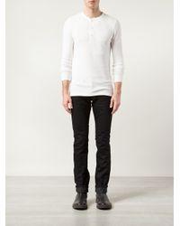 RRL - White Ribbed Henley T-shirt for Men - Lyst