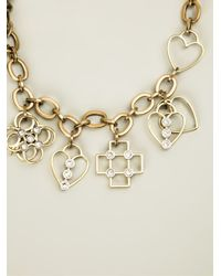 Lanvin - Metallic Key And Heart Pendant Necklace - Lyst