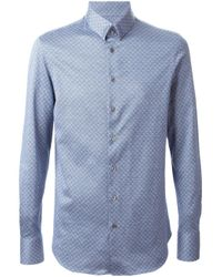 Giorgio Armani | Blue Printed Slim Fit Shirt for Men | Lyst