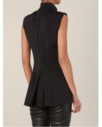 Givenchy - Black Peplum Sleeveless Blouse - Lyst