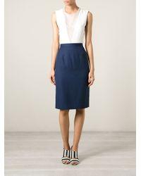 Guy Laroche - Blue High Waist Pencil Skirt - Lyst