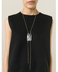Lanvin - Gray Crystal Pendant Necklace - Lyst