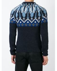 Moncler - Blue Fair Isle Jumper for Men - Lyst