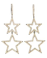 Rosa De La Cruz | White Burnished Gold And Brown Diamond Star Earrings | Lyst