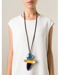 Monies - Black Chunky Resin Pendant Necklace - Lyst