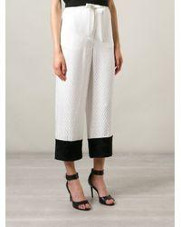 Alexander McQueen - White - Jacquard Straight Leg Trousers - Women - Silk/rayon - 38 - Lyst