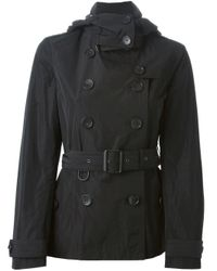 Burberry Brit | Knightsdale Short Hooded Trench Coat - Black | Lyst