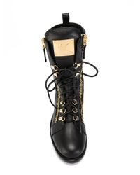 Giuseppe Zanotti - Black Zip Detail Combat Boots - Lyst