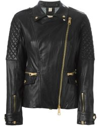 Burberry Brit - Black Quilted Sleeve Biker Jacket - Lyst