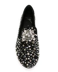 Giuseppe Zanotti - Metallic Crystal-Embellished Slippers - Lyst