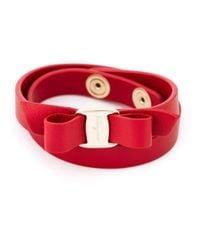 Ferragamo - Red 'vara' Bow Bracelet - Lyst