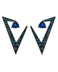 Nikos Koulis | Green Geometric Sapphire And Diamond Earrings | Lyst