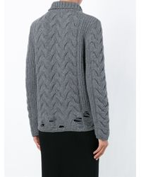 Aries - Gray Cable Knit Sweater - Lyst