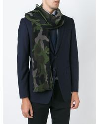 Valentino - Green Camouflage Scarf - Lyst