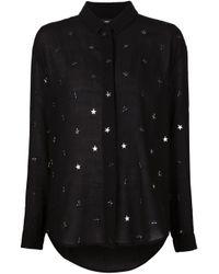 Anthony Vaccarello - Black Metal Star Appliqué Shirt - Lyst