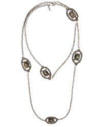 Roni Blanshay | Metallic Stone Embellished Beaded Necklace | Lyst