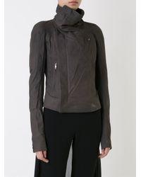 Rick Owens - Gray Eliel Wool, Leather and Cotton Biker Jacket - Lyst