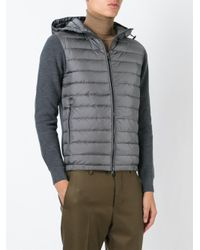 Moncler - Gray Padded Front Cardigan for Men - Lyst