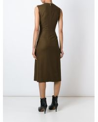 Jason Wu - Green - Pleated Front V-neck Flared Dress - Women - Silk/virgin Wool - 4 - Lyst