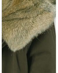 Woolrich - Green Rabbit Fur Collar Parka - Lyst