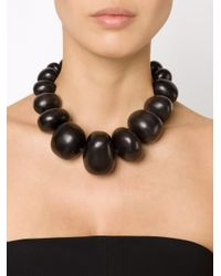 Monies - Black Chunky Bead Necklace - Lyst