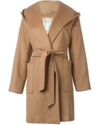 Max Mara - Brown Hooded Wrap Coat - Lyst