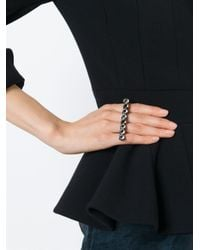 Lanvin - Black Double Ring - Lyst