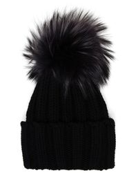 Inverni | Black Cashmere And Fur Beanie | Lyst
