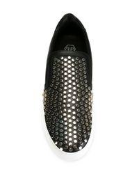 Philipp Plein | Black Studded Slip-on Sneakers for Men | Lyst
