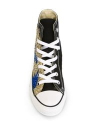 Converse - Black Sequin Flame Sneakers - Lyst