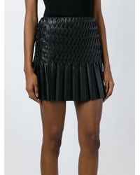 Jay Ahr - Black - Wavy Pleated Mini Skirt - Women - Silk/lamb Skin/spandex/elastane - 34 - Lyst