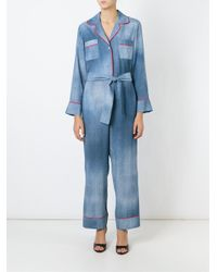 Fendi - Blue Denim Belted Jumpsuit - Lyst