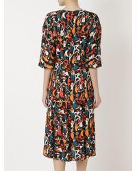 Andrea Marques   Black Midi Flared Printed Dress   Lyst