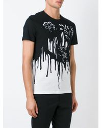 Alexander McQueen - Black Paint Splatter Print T-shirt for Men - Lyst
