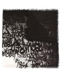 DSquared² - Black Graffiti Print Scarf - Lyst