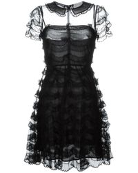 RED Valentino - Black Scalloped Lace Dress - Lyst