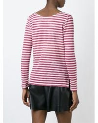 Majestic Filatures Red Longsleeved Striped T-shirt
