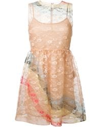 RED Valentino | Multicolor Sleeveless Floral Crepe Lace Dress | Lyst