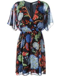 Alice + Olivia | Multicolor Floral Print Flared Dress | Lyst