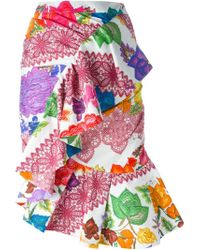 Stella Jean - Multicolor Printed Ruffled Skirt - Lyst
