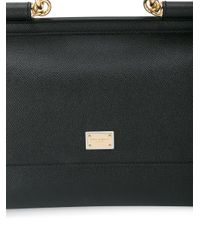 Dolce & Gabbana | Black Sicily Medium Textured-leather Tote | Lyst