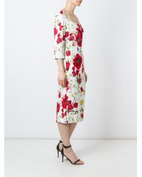 Dolce & Gabbana - White Daisy And Poppy Print Dress - Lyst