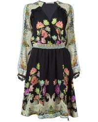 Etro - Multicolor Taupe Floral Paisley V-neck Dress - Lyst