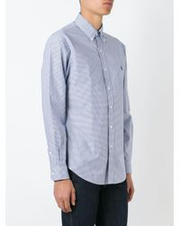 Ralph Lauren - Blue Slim Fit Checked Poplin Shirt for Men - Lyst