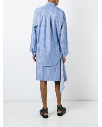 Vetements - Blue Striped Asymmetric Shirt Dress - Lyst