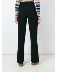 MSGM - Black Contrast Stripe Straight Trousers - Lyst
